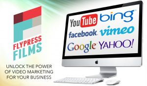 "[logo] FlyPress Films, [text] ""Unlock the Power of Video Marketing for your business"""